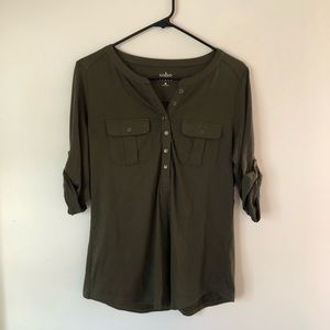 New York & Company Cotton Green Top Size S